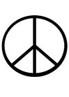 Kleurplaat vredesteken