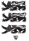 Kleurplaat wapenschild met leeuwen