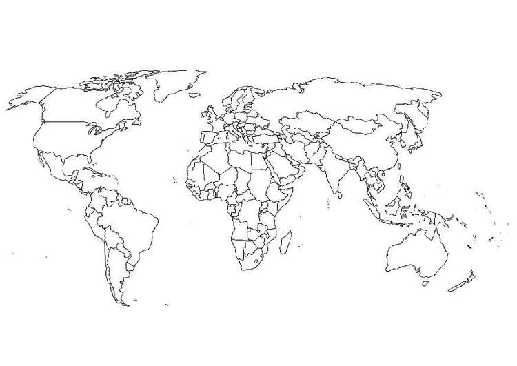 Kleurplaat Wereldkaart Afb 8110 Images