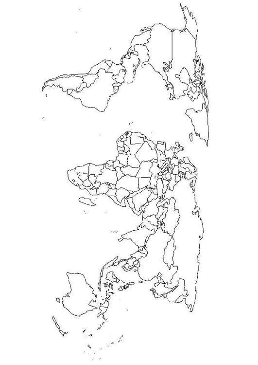 kleurplaat wereldkaart afb 15664