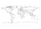 Kleurplaat wereldkaart