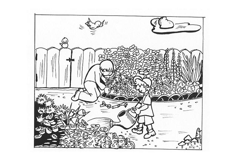 Kleurplaat werken in de tuin afb 9605 for Jardin dessin