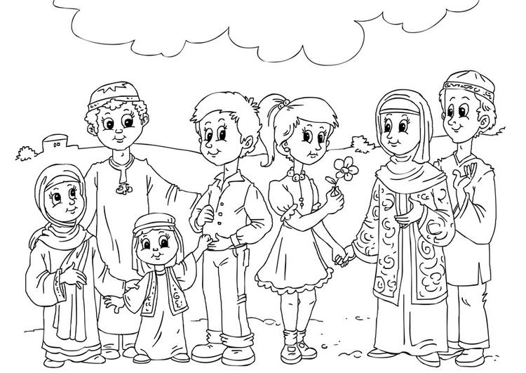 kleurplaat westerse kinderen in moslim cultuur afb 26241