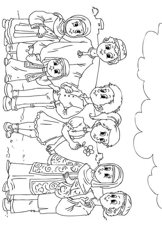 kleurplaat westerse kinderen in moslim cultuur afb 26243