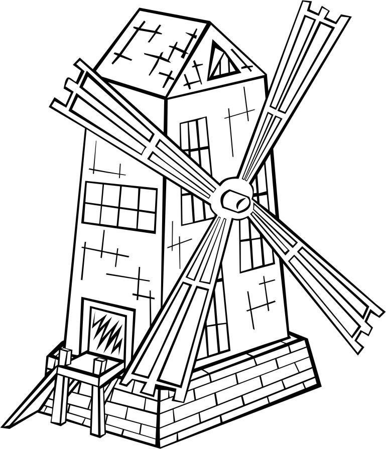 kleurplaat windmolen gratis kleurplaten om te printen