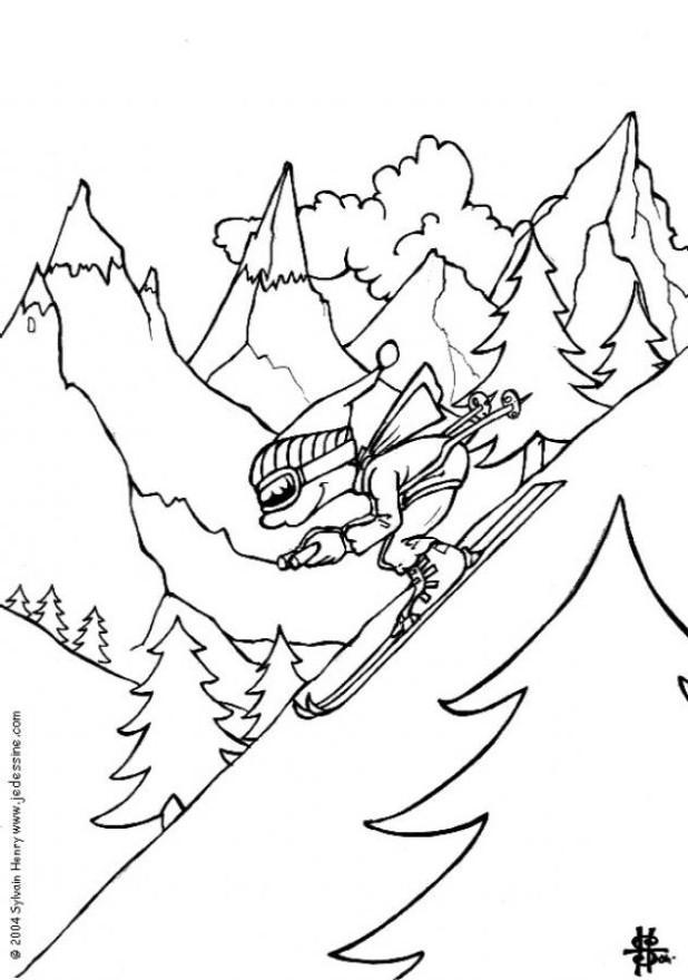 kleurplaat winter ski gratis kleurplaten om te printen