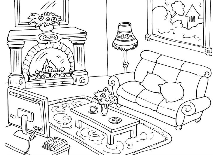 kleurplaat woonkamer - afb 25997., Deco ideeën