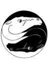 Kleurplaat ying yang paarden