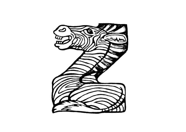 kleurplaat z zebra afb 24823