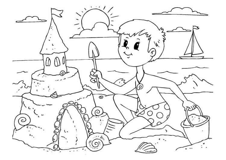 Kleurplaat Zandkasteel Bouwen Afb 22615