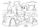 Kleurplaat zandkasteel bouwen
