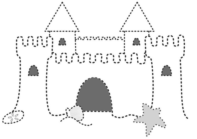 Kleurplaat Zandkasteel Afb 10092
