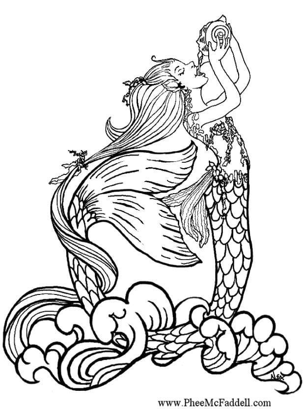 coloring pages mermaids h2o sims | Kleurplaat Zeemeermin drinkt regenwater - Afb 6896. Images