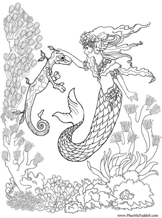 kleurplaat zeemeermin met zeepaardje gratis kleurplaten