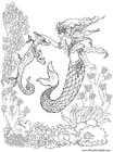 Kleurplaat zeemeermin met zeepaardje