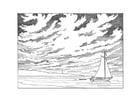 Kleurplaat zeilboot voor de kust