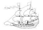 Kleurplaat zeilschip 17e eeuw