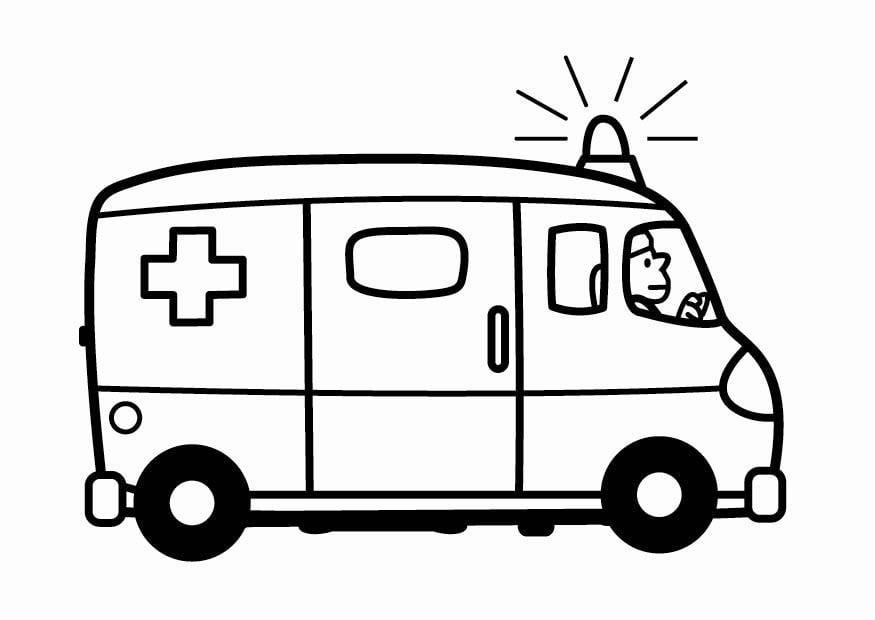 Kleurplaat ziekenwagen afb 24102 for Ambulance coloring page