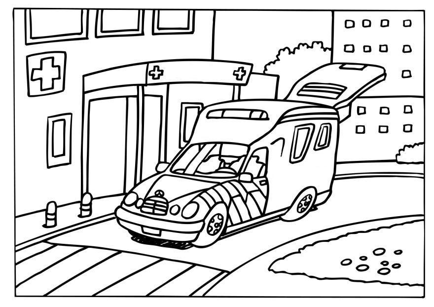 kleurplaat ziekenwagen afb 6579