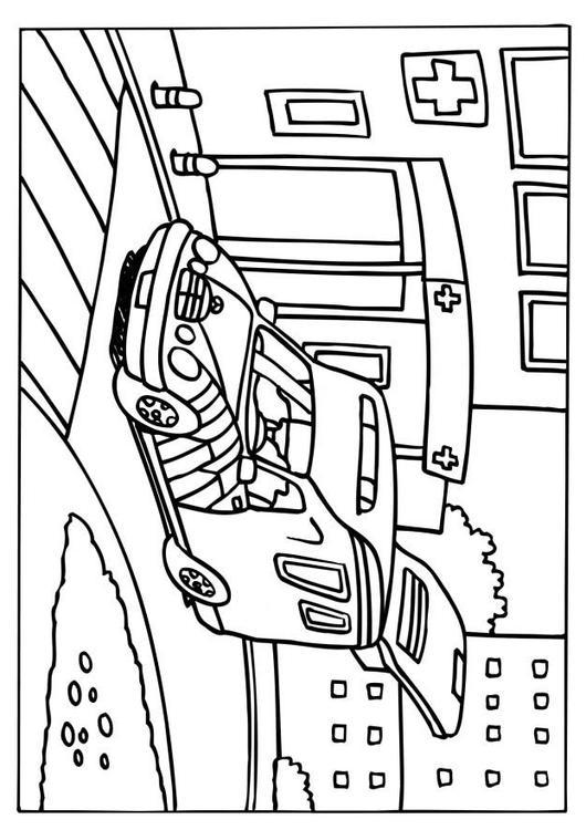 Kleurplaat ziekenwagen afb 6579 - Coloriage ambulance ...