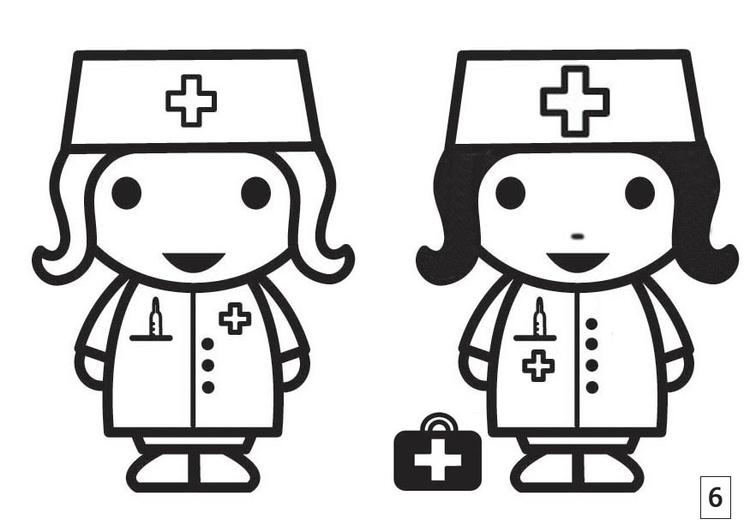 Kleurplaat Zoek De Verschillen Verpleegster Afb 21676