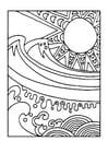 Kleurplaat zon en zee