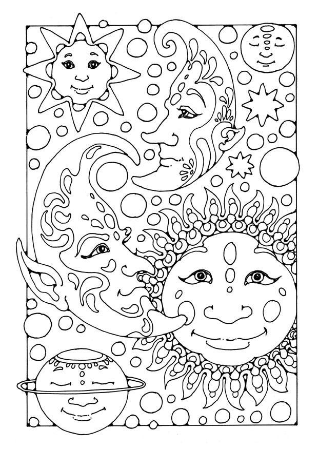 Kleurplaat zon maan en sterren
