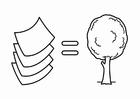 Kleurplaat zuinig met energie,papier komt van bomen