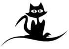 Kleurplaat zwarte kat