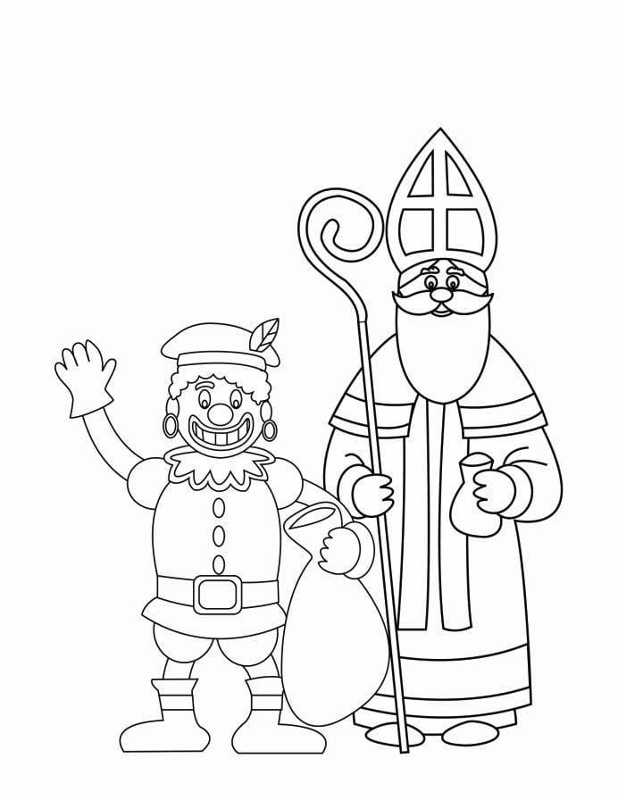 Kleurplaat Zwarte Piet En Sinterklaas 2 Afb 16170