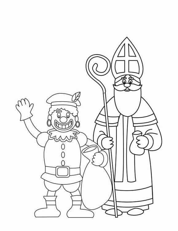 Gratis Kleurplaten Sint En Piet.Kleurplaat Zwarte Piet En Sinterklaas 2 Gratis
