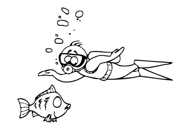 Kleurplaat Zwemmen Afb 11538