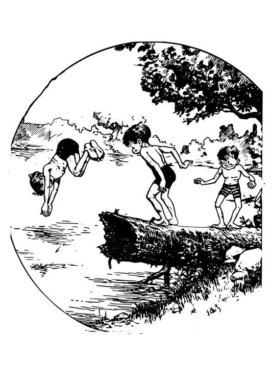 Kleurplaat Zwemmen In Vijver Afb 27926