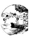 Kleurplaat zwemmen in vijver