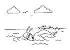 Kleurplaat zwemmen