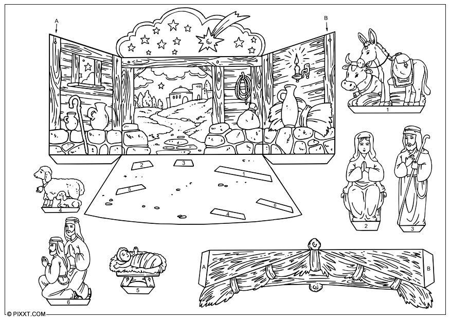 Carrousel Kleurplaat Kerst Knutselen Kerststal Knutselen Voor Kinderen Cat 28178