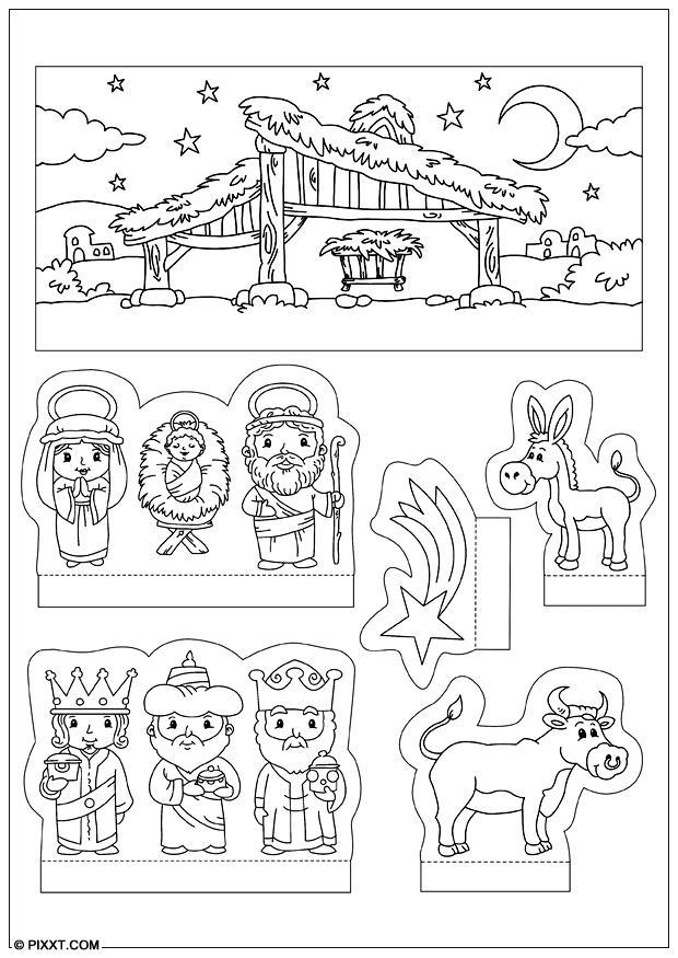 Kerststal Figuren Kleurplaten.Kleurplaten Kerststal Knutselen Brekelmansadviesgroep