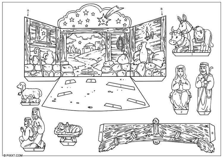 Carrousel Kleurplaat Knutselen Kerststal Knutselen Voor Kinderen Cat 28178