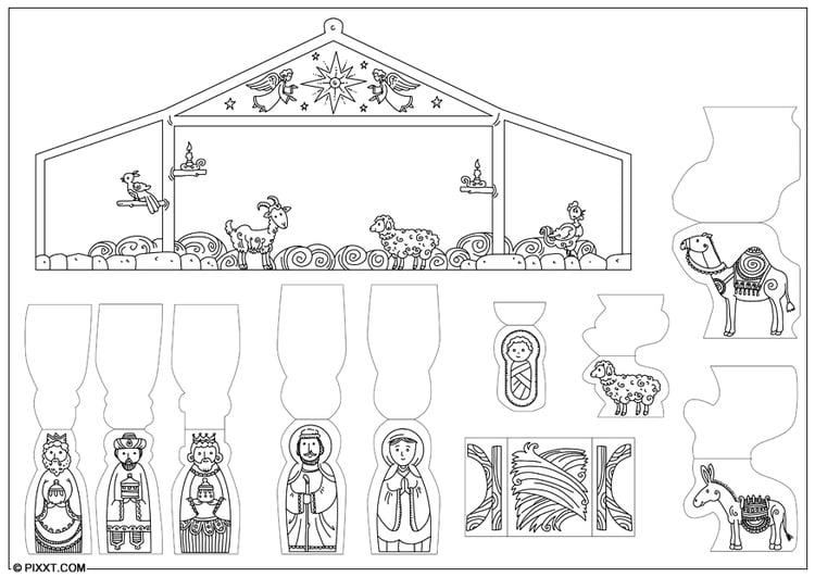 Kleurplaat Figuren Kerststal Knutselen Kerststal Knutselen Voor Kinderen Cat 28197