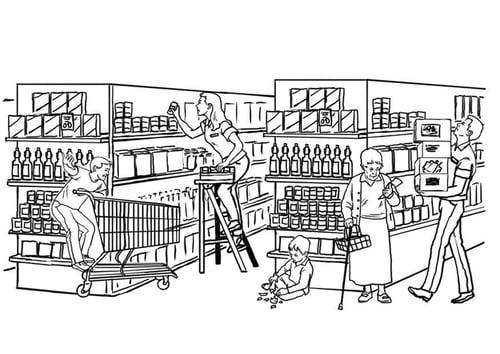 Kleurplaat supermarkt